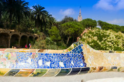 Ceramic mosaic Park Guell Royalty Free Stock Photography