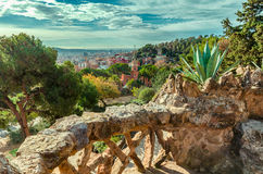 Ceramic mosaic Park Guell in Barcelona, Spain Royalty Free Stock Images