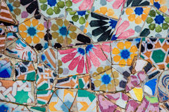 Ceramic mosaics in Park Guell by Antoni Gaudi Royalty Free Stock Photography