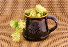 Ceramic mug for beer with hop cones Royalty Free Stock Images
