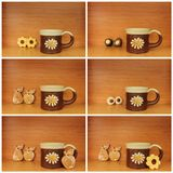 Ceramic mug collage Stock Images