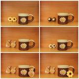 Ceramic mug collage Stock Images