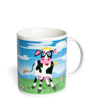 Ceramic mug with a painted cow Stock Image