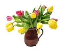 Ceramic mug with tulips Royalty Free Stock Photography