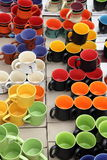 Ceramic Mugs. Colourful ceramic mugs on display Stock Photography