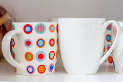 Ceramic mugs close up Royalty Free Stock Image