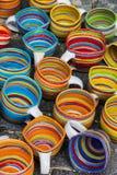 Ceramic mugs at market. Royalty Free Stock Images