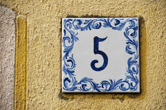 Ceramic number tile 5 Royalty Free Stock Photography