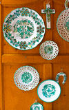 Ceramic painted regional dishes on the wooden background Stock Photography