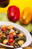 Ceramic Pan With Stewed Vegetables royalty free stock photos