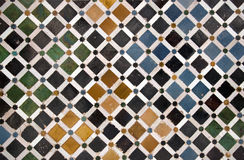 Ceramic pattern. Colorful detail of a wall in Alhambra Castle, Granada Spain royalty free stock photography
