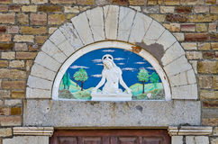 Ceramic pediment. Image of Christ represented in a ceramic pediment Royalty Free Stock Photos