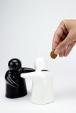 Ceramic penny bank. Ceramic penny bak figurines on white background Royalty Free Stock Images