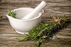 Rosemery herbs and pestle Royalty Free Stock Photography