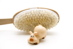 Ceramic pig and back brush Royalty Free Stock Photos