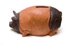 Ceramic piggy bank. A view of a brown piggy bank isolated on a white background Royalty Free Stock Images