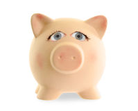 Ceramic piggy bank with human eyes Stock Photos