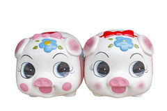 Ceramic piggy bank , with clipping path Royalty Free Stock Photos
