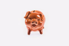 Ceramic piggy bank. Isolated on white Royalty Free Stock Photo