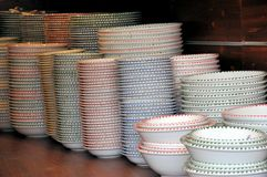 Ceramic piled plates Royalty Free Stock Image