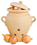 Ceramic pitcher and bow Royalty Free Stock Photos