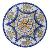 Ceramic Plate. Made in Talavera de la Reina (Spain). Isolated Stock Photo