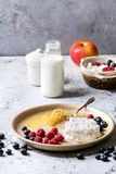 Homemade cottage cheese. Ceramic plate of homemade cottage cheese served with blueberries, raspberries, bottle of milk and honeycombs over white marble texture Royalty Free Stock Photography