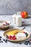 Homemade cottage cheese. Ceramic plate of homemade cottage cheese served with blueberries, raspberries, bottle of milk and honeycombs over white marble texture Stock Photography