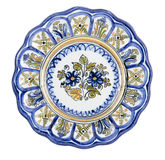 Ceramic Plate Lobed. Made in Talavera de la Reina (Spain). Isolated Royalty Free Stock Photography