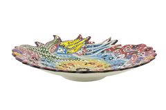 Ceramic plate. Turkey Kutahya çini tabak. Ceramic is the name for materials that are formed by the use of heat. The word ceramic comes from the Greek word Royalty Free Stock Images
