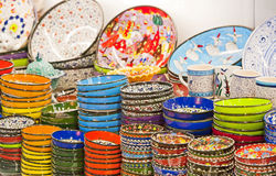Ceramic plates and bowls at market Stock Photo