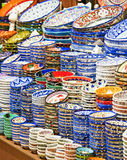 Ceramic plates and bowls at market Royalty Free Stock Image