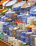 Ceramic plates and bowls at market Royalty Free Stock Image