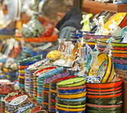 Ceramic plates and bowls at market Royalty Free Stock Images