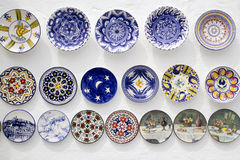 Ceramic plates crafts Mediterranean Ibiza Stock Photography