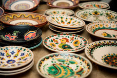 Ceramic plates with different  patterns Stock Image