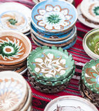 Ceramic plates exposed to a fair Royalty Free Stock Image