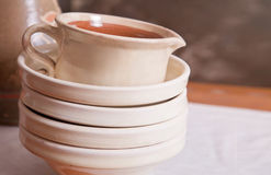 Ceramic plates and a pitcher Royalty Free Stock Photo