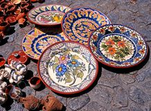 Ceramic plates, Portugal. Royalty Free Stock Images
