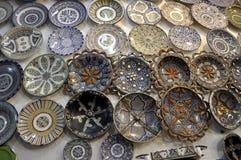 CERAMIC PLATES SOUVENIRS stock photo