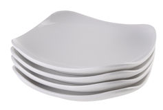 Ceramic plates in white colour Royalty Free Stock Photography