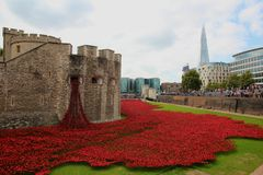 Ceramic poppies at Tower of London Stock Photo