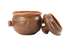 Ceramic pot with  cover Stock Photo