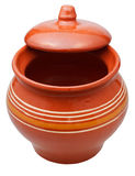 Ceramic pot with half open lid Royalty Free Stock Images