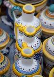 Ceramic pot with handle tradional porcelain. Ceramic pot with handle traditional romanian earthenware traditional porcelain royalty free stock image