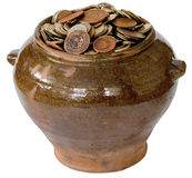 Ceramic pot with metal vintage money Stock Photography