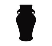Ceramic pot silhouette illustrated. On white background Stock Image