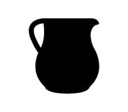 Ceramic pot silhouette illustrated. On white background Royalty Free Stock Photography