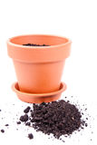 Ceramic pot with soil Stock Photos