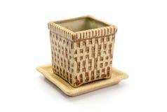 Ceramic pot  on white background Royalty Free Stock Photo